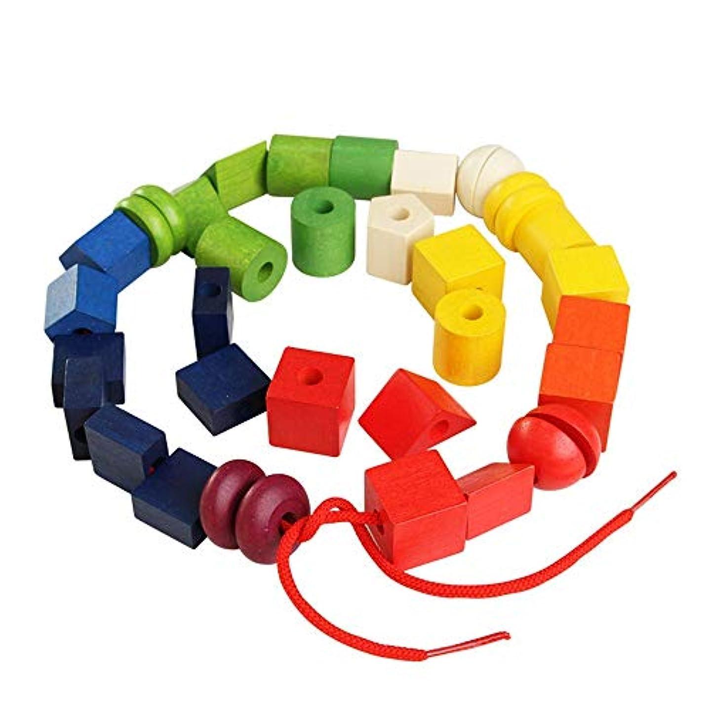 ではごきげんよう効果的にエスカレータービルディングブロック 幼児用のひもでつなぐ子供用の大きなレースビーズセット教育的なひもで締めるおもちゃ大きな木製のカラフルなビーズブロック36個 クリスマス元旦のギフト (Color : Multi-colored, Size : 19x14.5x.95cm)