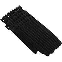 QualGear Hook & Loop Fastening Cable Ties, 1/2 x 6 inches, Black, 50 pcs (VT2-B-50-P)