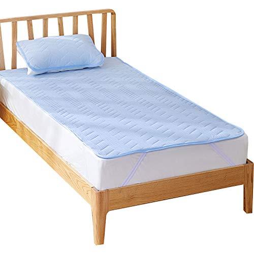 Bedsure 接触 冷感 敷きパッド ひんやり ベッドパッド クール 冷感 敷きパッド シングル パッド冷涼敷パッド 人気 夏 100x205cm ベッドパッド 抗菌防臭 夏用 洗える 四隅 ズレ防止 ゴムバンド 付き 吸汗 速乾 クールマット ブルー