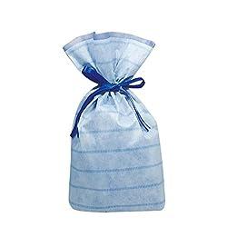 カクケイ 不織布底マチ付巾着袋M ブルー 1枚 2個パック FK0012-NS