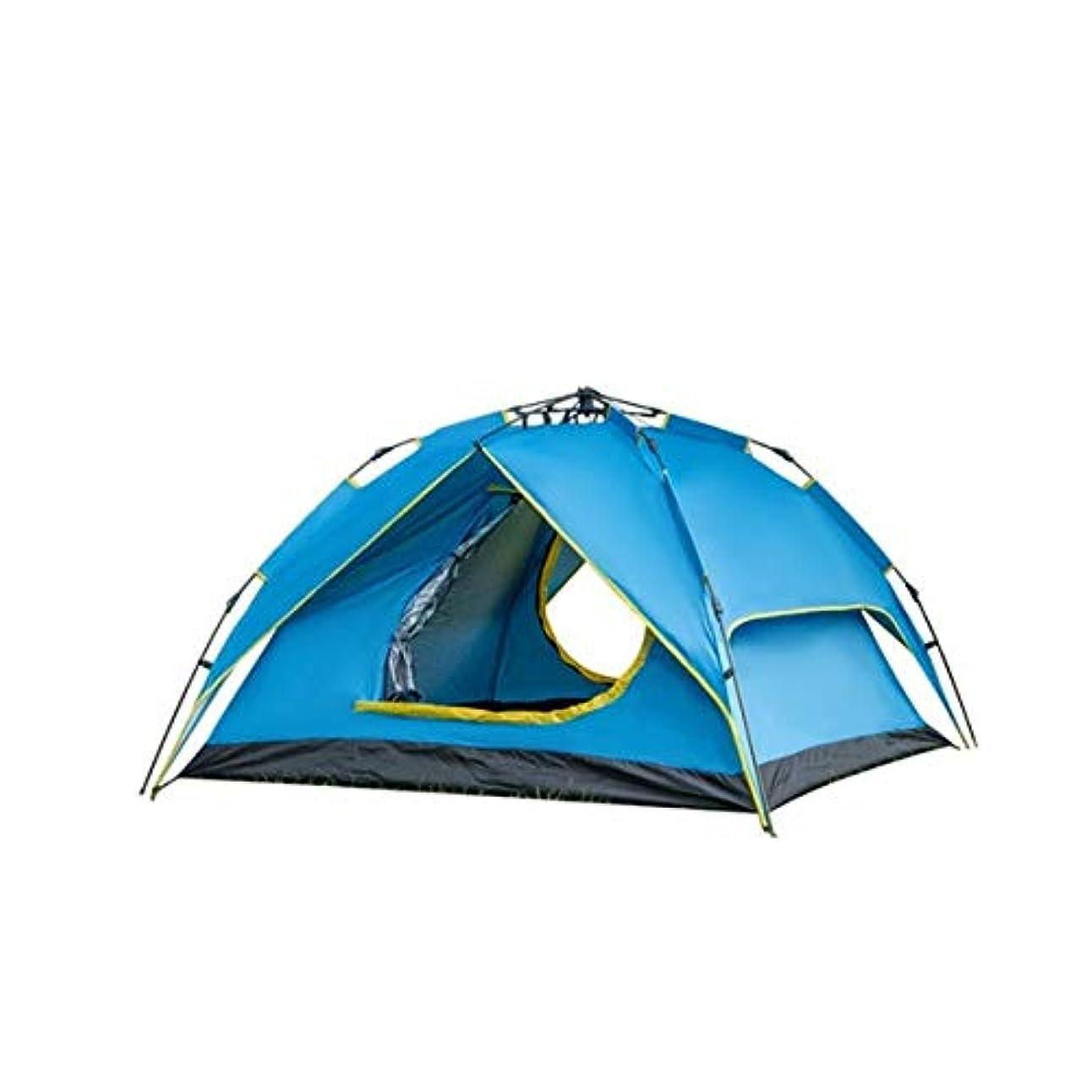 昨日瞳入射新しいポータブル4人二重層インスタントポップアップキャンプテント屋外シェルター