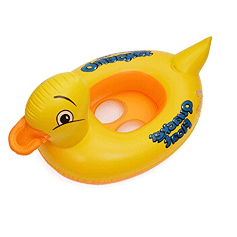 Geraffely 子供用 足入れ浮き輪 漫画 動物 イエローアヒル ひつじふかふかベビーチェ 海水浴 海フロート夏の必需品 78*50cm