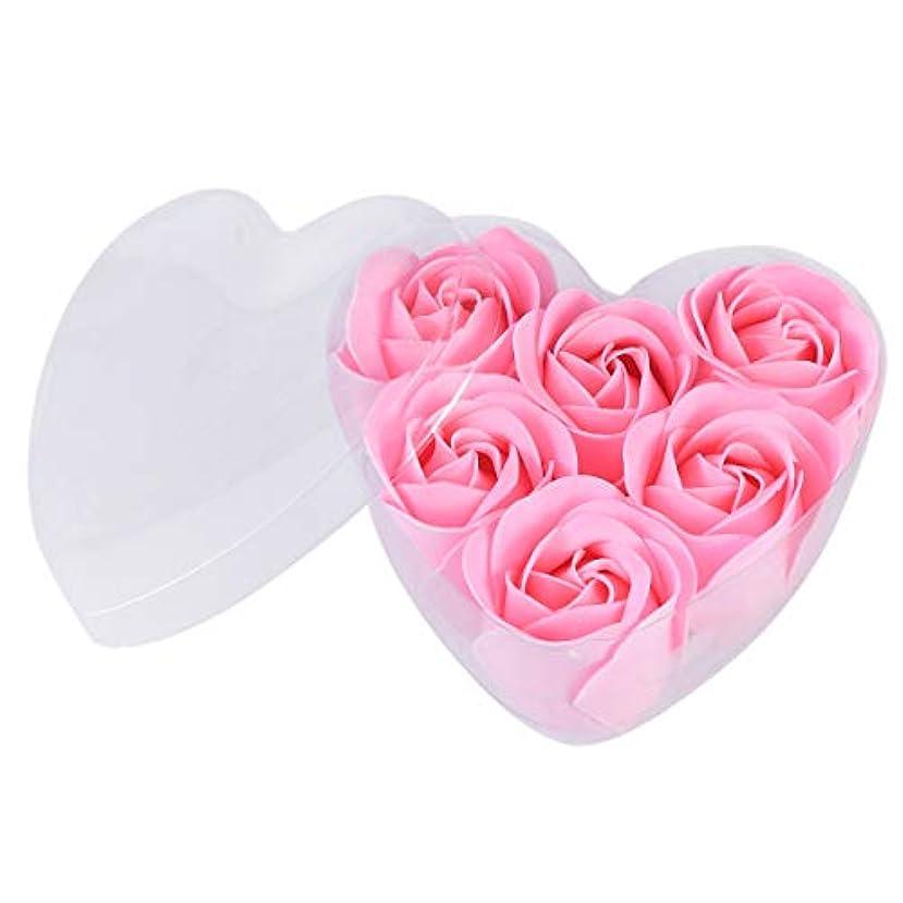 保証金退屈な困惑するFRCOLOR 6ピースシミュレーションローズソープハート型フラワーソープギフトボックス用誕生日Valentin's Day(ピンク)