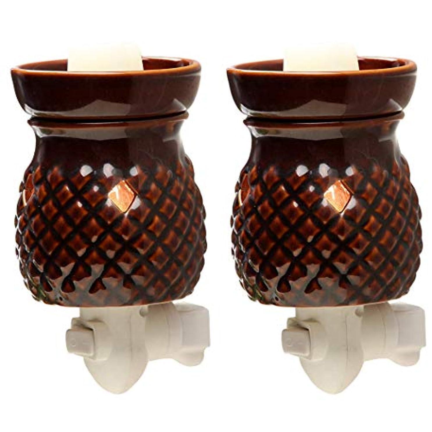 グリーンランド集中テラスHosley 2個セット 高さ5.3インチ レッド セラミック 電気ワックス ウォーマー 結婚式 スパ アロマテラピーに最適 ブランド ワックスメルトとキューブ エッセンシャルオイルとフレグランスオイル W1