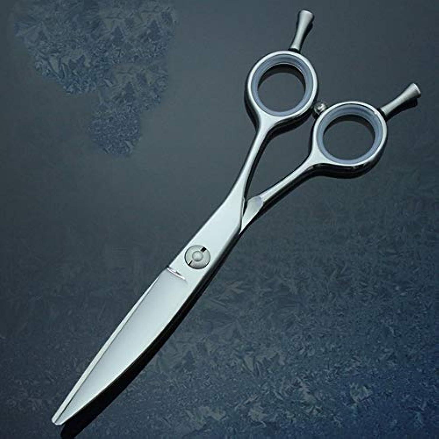 性別月コマース6.0インチの専門の理髪はさみ柳のゆがみの曲がるせん断440C理髪はさみ モデリングツール (色 : Silver)