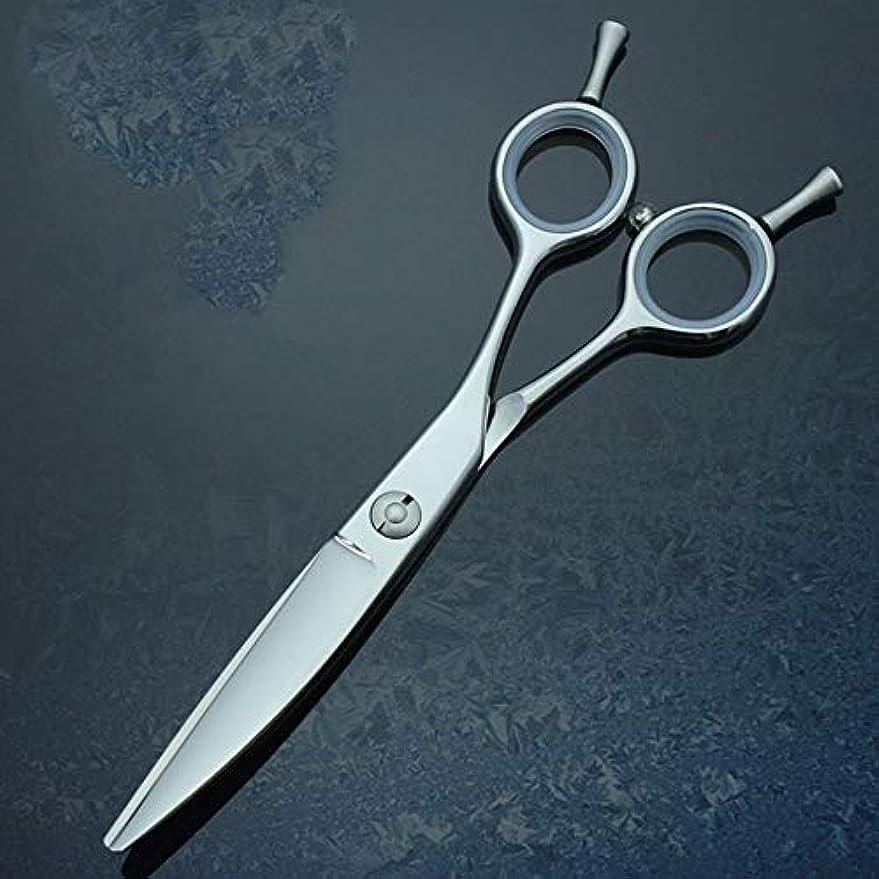 エラーコーヒー胚6.0インチの専門の理髪はさみ柳のゆがみの曲がるせん断440C理髪はさみ モデリングツール (色 : Silver)
