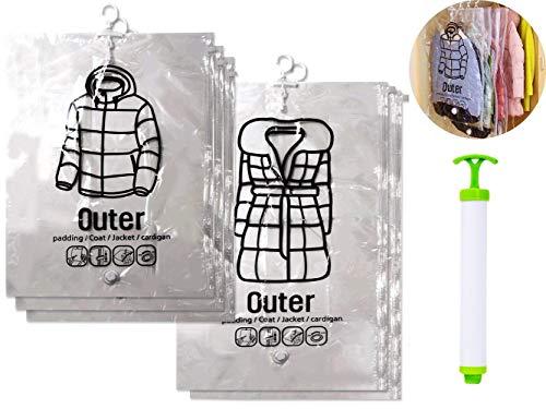 Orienex 吊るせる衣類圧縮袋 手動ポンプ付き 圧縮パック 衣類収納袋 5枚セット 真空式 ダニ、カビ対策