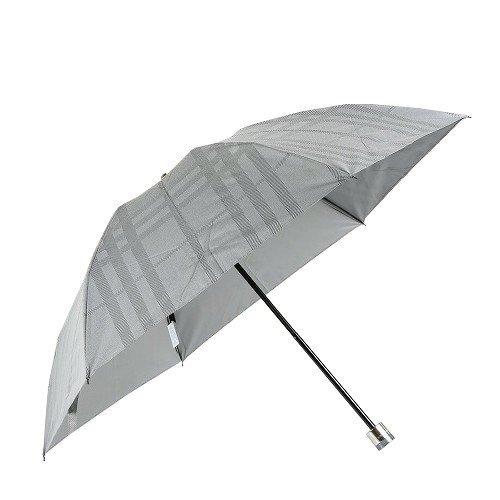 【BURBERRY】バーバリー 日本製「1級遮光生地」シャドートーナルチェック 婦人折りたたみ傘(晴雨兼用) グレー