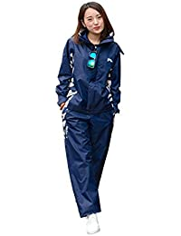 ZEMIN レインコート ポンチョ レインウェア スリッカー ウインドブレーカー 防水 カバー ズボン セット 女性 カラフル ポリエステル、 5サイズ、 利用可能な3色 (色 : 青, サイズ さいず : M)