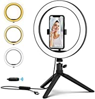 PoplarTrees Selfie Ring Light 10'' with Tripod & Cell Phone Holder and Remote Control, 3000-5500K dimmable LED Lamps,...