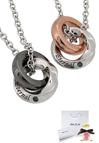 [クローストゥーミー] Close to me シルバー 925 ブルーダイヤモンド ペアネックレス カップル 人気 2個セット リングネックレス ブランド