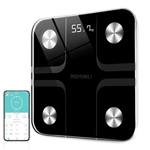 体組成計・体脂肪計 体重計 体重/体脂肪率/体水分率/骨量/基礎代謝量/BMI/など簡単測定 複数登録可能 Fitbit・Google Fitと連携 スマホ iOS/Androidアプリで 健康管理 ヘルスケア同期 体重管理 ブルートゥース対応 日本語取扱説明書付き(黒)