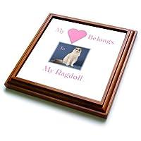3dローズFlorene Love of Catsシリーズ–イメージのMy Heart Belongs to my Ragdollとピンクハート–五徳 8x8 Trivet with 6x6 ceramic tile ブラウン trv_240747_1