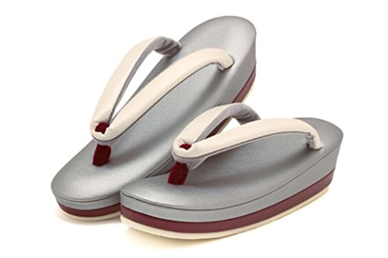草履 岩佐謹製 灰色 ブルーグレー 白 無地 配色 シンプル 二枚芯 帆布 ぞうり 和装履物 セミフォーマル レディース 女性用 日本製 Mサイズ Lサイズ