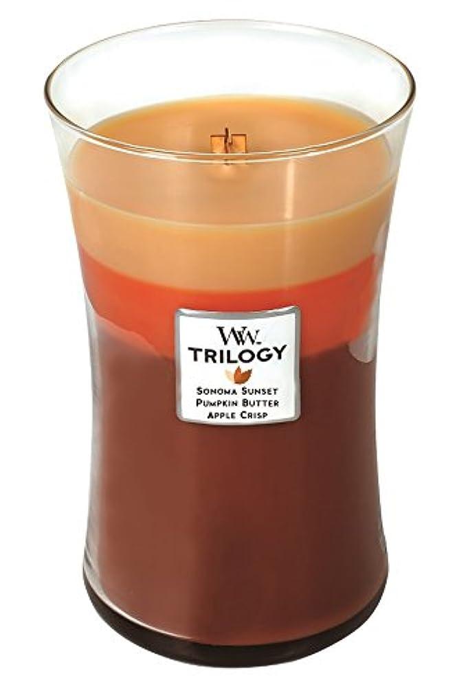 トラップ抑圧するアークWoodwick秋Comforts Trilogy , Highly Scented Candle、3 - in - 1砂時計Jar , Large 7-inch、21.5 Oz