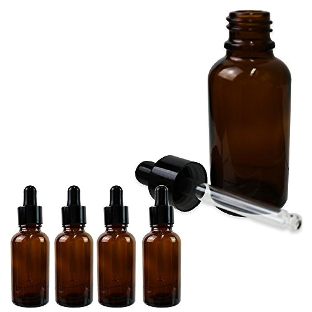 十二コスチューム光沢のあるSagittaire スポイト式 遮光瓶 ガラス製 30ml 5本セット 化粧水 香水 保存 旅行 詰め替え (ブラウン)