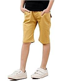 ハーフパンツ ボーイズ 子供服 男の子 ショートパンツ ジュニア ショート ジーンズ 綿 無地 五分丈 短パン 半ズボン シンプル キッズパンツ 通気 快適 かっこいい カジュアル 通学 通園