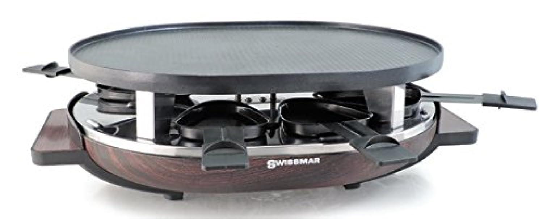 Swissmar kf-77068 8-person Matterhorn Oval Raclette W/木製ベース、リバーシブル鋳造アルミノンスティックグリルプレート