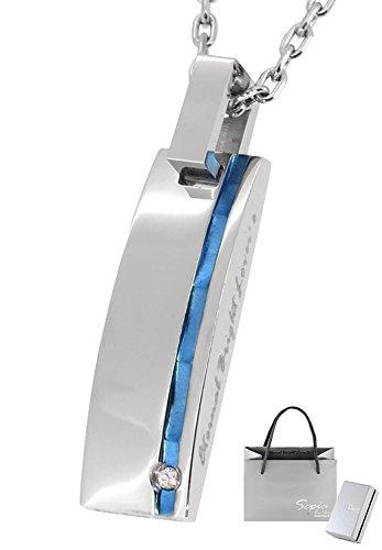 [해외]세피아 Sepia 샤이니 에지 플레이트 천연 다이아몬드 스테인리스 목걸이 블루 인기 남성 브랜드 단순/[Sepia] Sepia Shiny color edge plate natural diamond stainless steel necklace blue popular mens brand simple