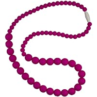 Funky Silicone Teething Necklace for Mom to Wear - Color Crimson - Our teething beads are made from 100% food grade silicone and are free of heavy metals, PVC and BPA free. by Bambeado