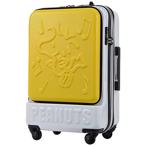 キャリーケース ピーナッツ スヌーピー 当社限定 スーツケース かわいい フロントオープン TSAロック エキスパンダブル PEANUTS SNOOPY ファスナータイプ 4輪 58L 3日 5日用 56cm Lサイズ PN-002 (YELLOW-WS)