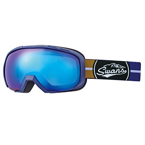 SWANS(スワンズ) スキー スノーボード ゴーグル プレミアムアンチフォグ搭載 ミラーレンズ 080-MDH-S-PAF NAV ネイビー/ブルーミラー×グレイレンズ