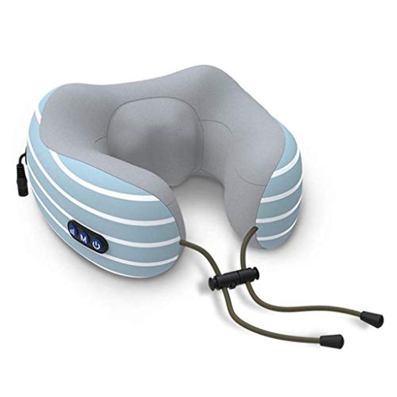 彫刻家未就学放射性肩と首のマッサージ、U字型の首のマッサージ、3D指圧マッサージのディープニーディング、筋肉をリラックスさせる電気マッサージ、痛みを和らげる、オフィスファミリー向け (Color : 青)