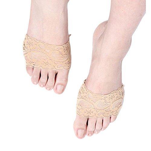 panaco トゥークッション ハイヒールやサンダルの滑り止め 保護 靴擦れ防止 目立たない つま先 サポーター (レース ベージュ)