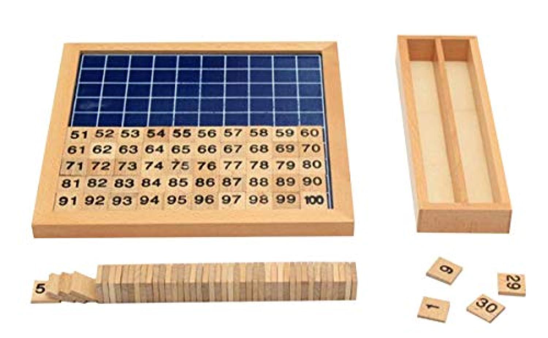 [ワズチヨ] 100並べセット Hundred Board 木製 知育玩具教具 幼児早期教育 教材 算数 学習 おもちゃ 22.3 x 22.3㎝ 木製のチップ入れ箱付き