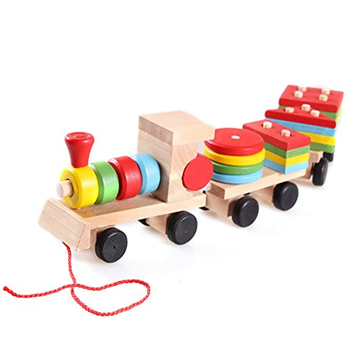 BUYITNOW Children's Wooden Stacking Train Toy Vary Shaped Puzzles Games