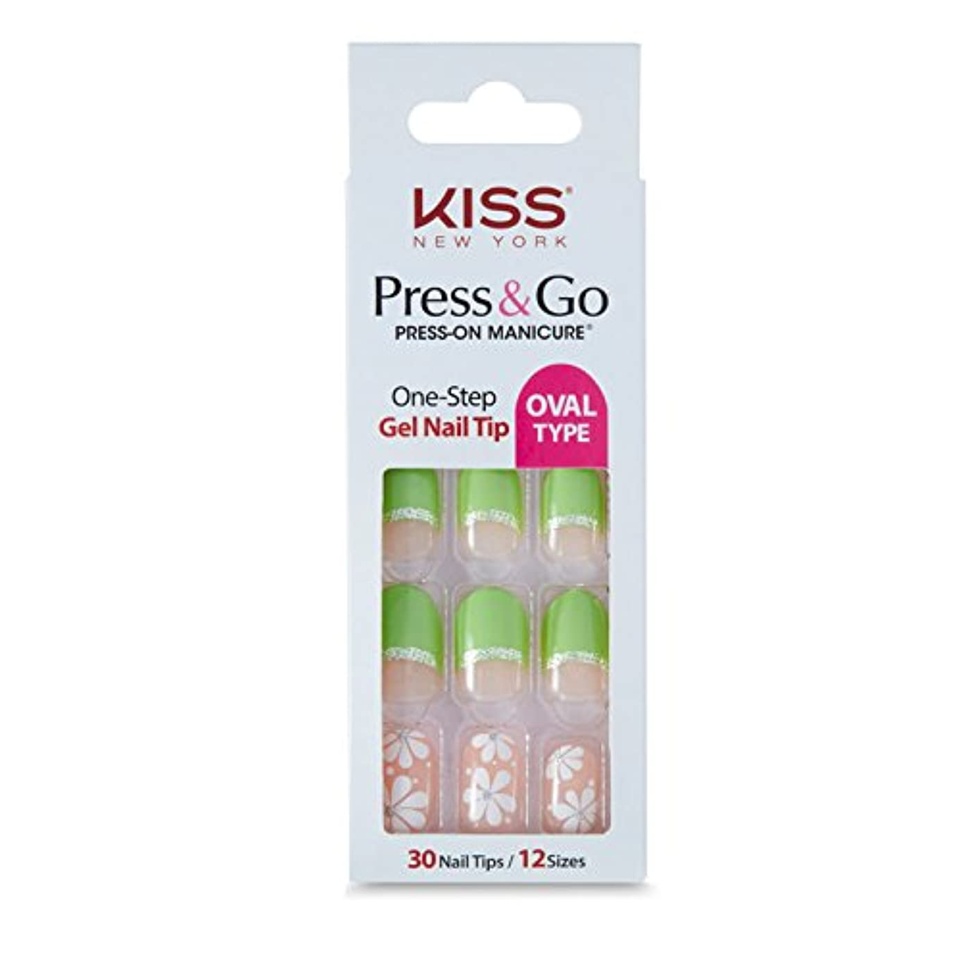 ジャンプするゴールド伴う[KISSNEWYORK]キスニューヨークプレスアンドゴーホワイトショットフレンチ(楕円形オーバルタイプ)/1秒成形ネイルPNG0102K付けるネイルPRESS&GO PRESS-ON MANICURE One-Step Gel Nail Tip/OVAL TYPE (Green Flower)