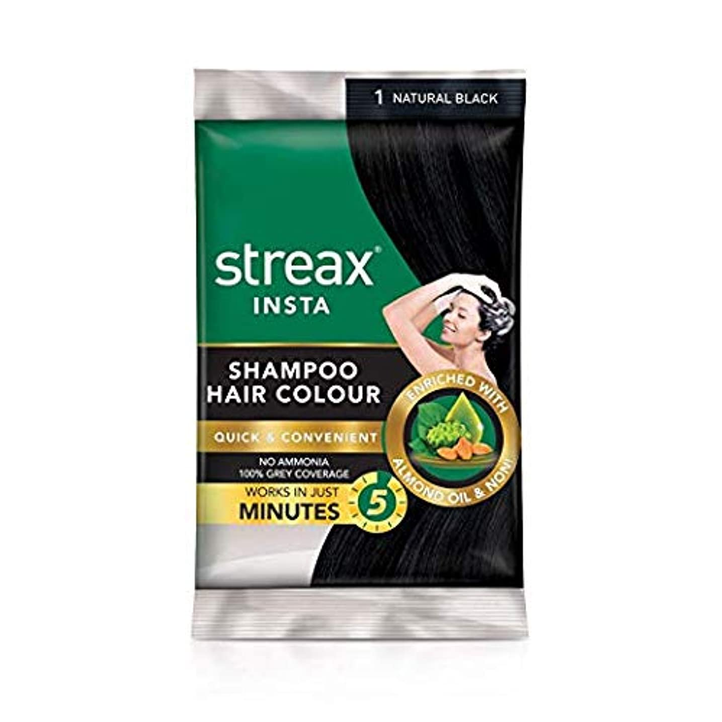 鉄座る失Omg-deal -Pack of 5 Streax Shampoo Hair Colour Natural Black