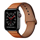 KYISGOS Compatible with iWatch Band 44mm 42mm, Genuine Leather Replacement Band Strap Compatible with Apple Watch Series 5 4 3 2 1 42mm 44mm, Brown