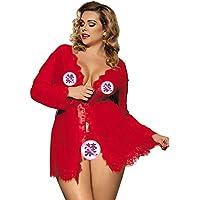 女性のセクシーなレースサテンパジャマの下着パジャマメイクアップワンピースnightdress Gロープベルト,Red,3XL