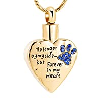 メモリアルジュエリー No Longer by My Side,But Forever in My Heart 彫刻ロケット火葬骨壺ネックレス ペット犬猫用