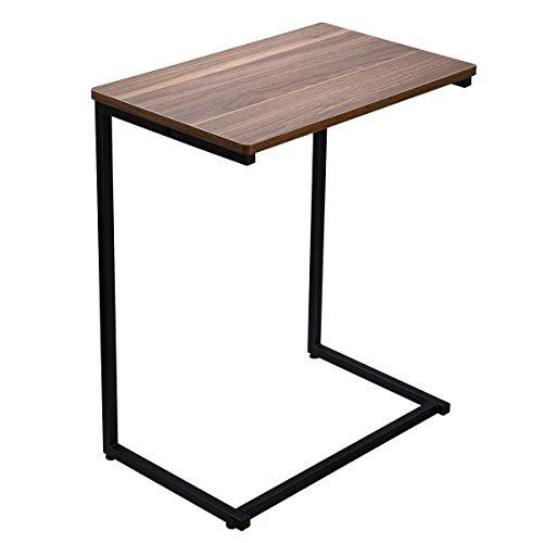 HOMEMAXS サイドテーブル コ字型 木目調 テーブル 組立簡単 ガタツキ防止 ベッド&ソファーの傍らに最適 省スペース 幅56×奥行36×高さ67cm (木目調)