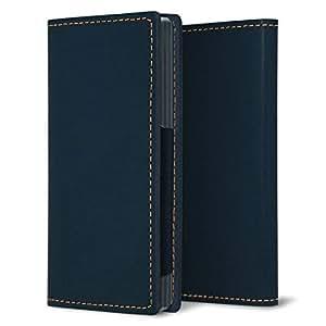 iPhone X【左利き用】本革栃木レザー ヌメ革アニリン仕上げ 手帳型スマホケース ブルー