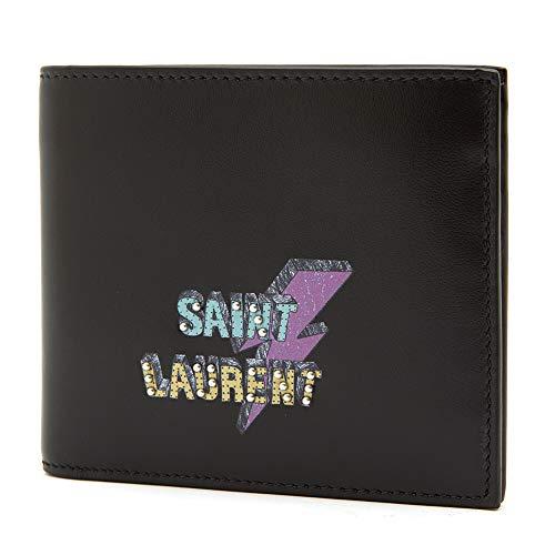 [サンローラン] [SAINT LAURENT] メンズ エクレア ロゴ プリント パッチ 牛革 二つ折り財布 折りたたみ財布 ブラック [並行輸入品]