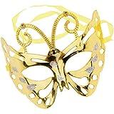 Baosity フェイスマスク ハーフフェイス バタフライ 蝶々 マスク 写真小物 舞台道具 パーティー ドレスアップ 6色選べ - ゴールド