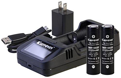 【日本製セル KEEPPOWER IMR 18650 3120mAh バッテリー】(SONY VTC6 セル) 30A 電子タバコ用 (2本組+L2 充電器セット)