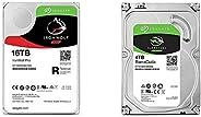 """【セット買い】Seagate IronWolf Pro 3.5"""" データ復舊3年付 16TB HDD(CMR) 5年保証24時間稼動 PC NAS 用 RVセンサ ST16000NE000 & Barr"""