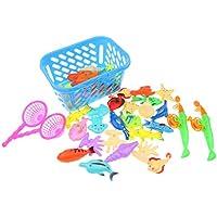 perfk 5サイズ選択 調整可能ロッド 磁気釣りおもちゃセット みずのおもちゃ - 40個