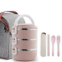 HCHWH ステンレススチール製の食事ボックスは、1-2時間、良い健康的な食事のボックス、3つの層、2100ミリリットルの温度を保持することができます (色 : ピンク ぴんく)