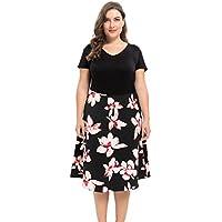 Chicwe Women's Vintage Style Plus Size Floral Print Dress 1X-4X
