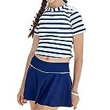 水着 女の子 キッズスクール 子供 セパレート ストライプ 2点セット 半袖 8-15歳 140 150 160cm
