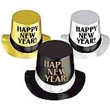 Rocking New Year 'sパーティークラシックTop Hatsアクセサリー、ブラック、シルバー、ゴールド、箔、5インチ、12パック