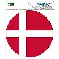 デンマーク国立国旗 - サークル MAG-格好いい'S(TM)カー/冷蔵庫マグネット