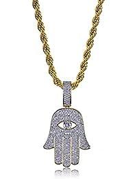 JINAO Hip Hop Jewelry ヒップホップ ネックレス 邪眼手 ファティマ 邪眼ネックレス お守り 開運 ジルコニア 18Kゴールドメッキ メンズ B系 ネックレス