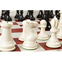 Extra Large, Extra Heavy Chess Set, Ivory Pieces & Red Vinyl Board by Chess Geeks [並行輸入品]
