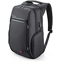 Laptop Backpack, Kingsons Business Travel Computer Bag with USB Charging Port Anti-Theft Water Resistant for 15.6/17Inch Laptop (17, Black with Sucker)
